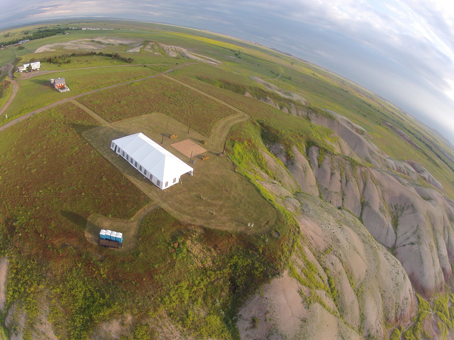 Aerial view of a a wite building