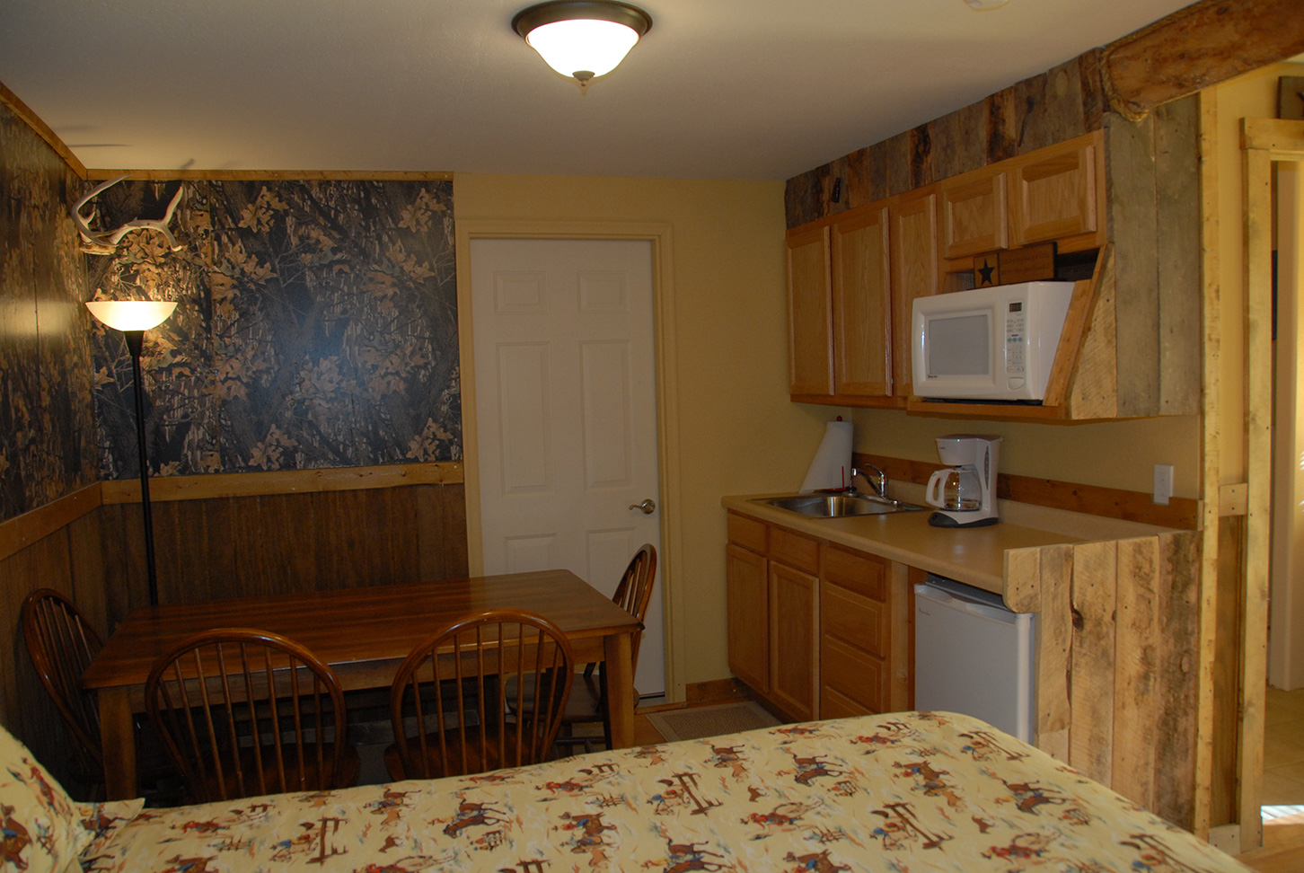 Room interior of a small kitchen and dinning room