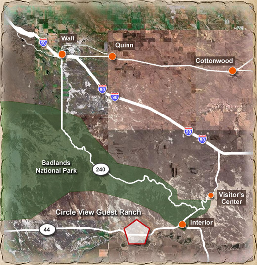 Area map of Circle view guest ranch showing Badlands national park, cottonwood, Interior, Vistor's Center, Quinn and Wall